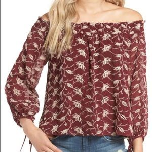 ASTR the label off the shoulder embroidered top XS